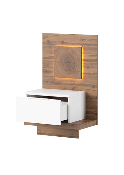 Livorno 69 Bedside Table in Wotan Oak and White - Right