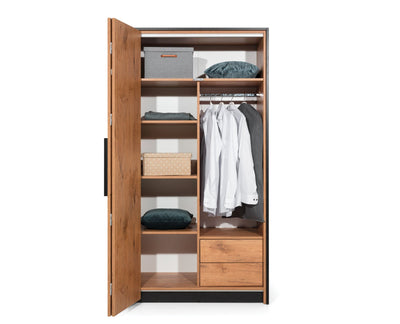Loft Folding Door Wardrobe 104cm in Lancelot Oak