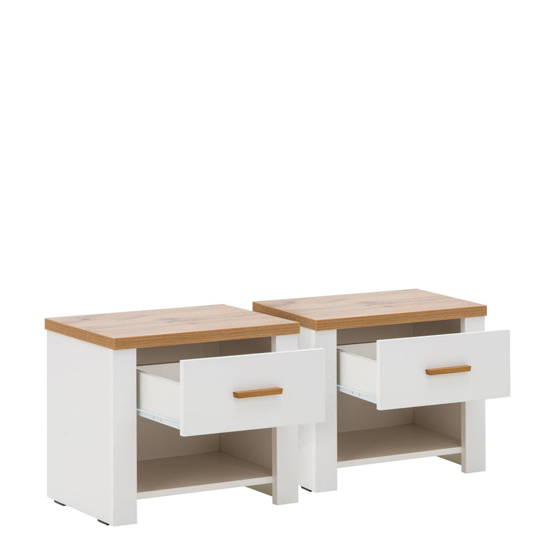Nicea 23 Pair of Bedside Cabinets in White