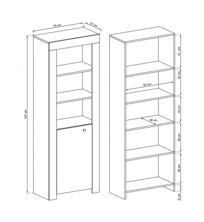 Rene Tall Bookcase with Door
