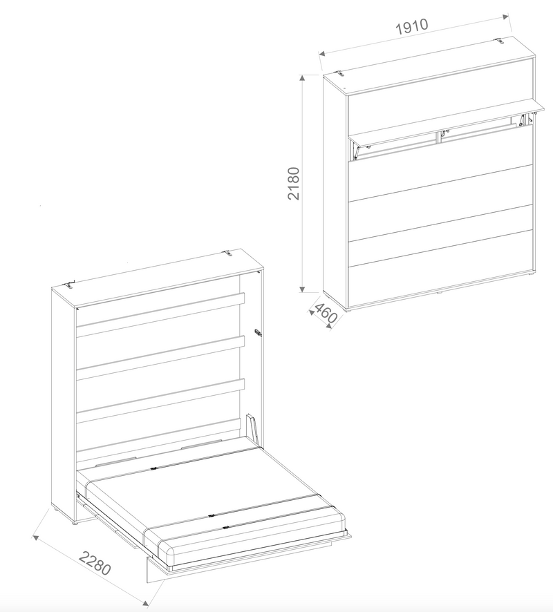 BC-13 Vertical Wall Bed Concept 180cm