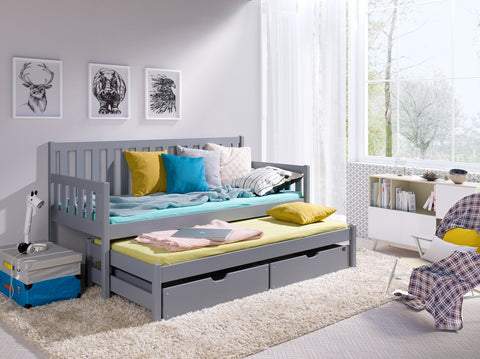Wooden Double Bed Sofii with Trundle and Storage in Grey