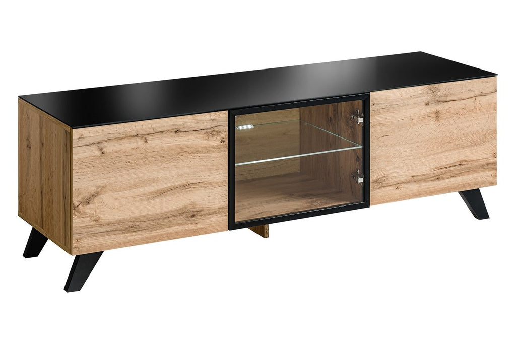 Thin TV Cabinet in Wotan Oak