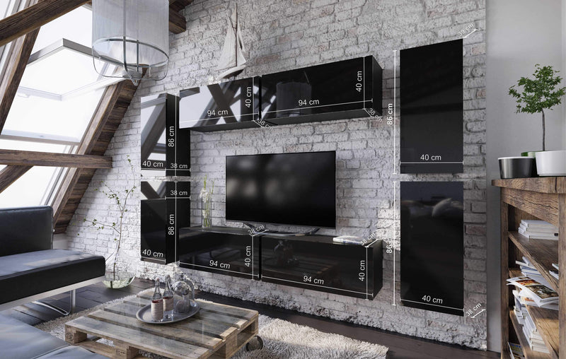 Boxing 2 Gloss Entertainment TV Wall Unit