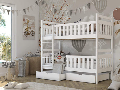 Wooden Bunk Bed Monika with Storage