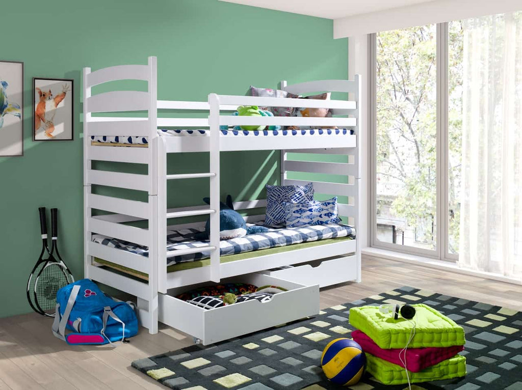 Wooden Bunk Bed Slawek with Storage