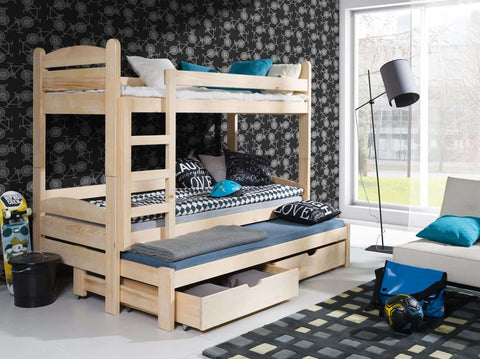 Wooden Bunk Bed CEZAR with Trundle and Storage