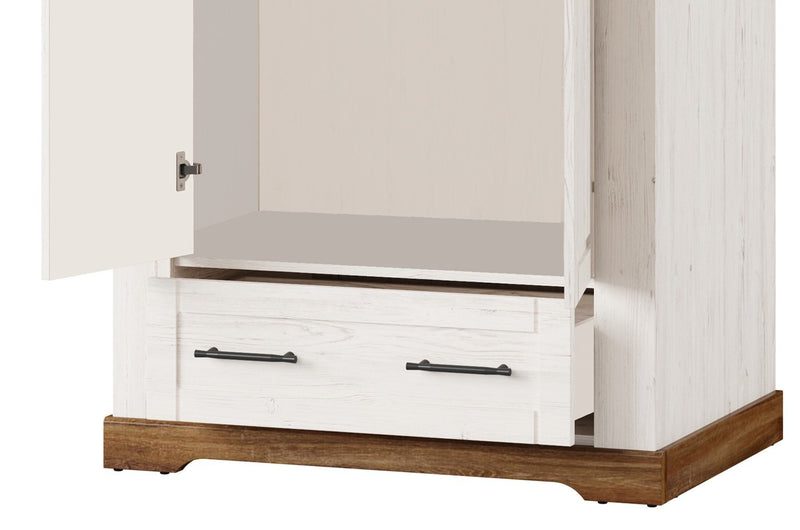 Country 70 - 2 Door Wardrobe in Oak Sterling and Andersen Pine