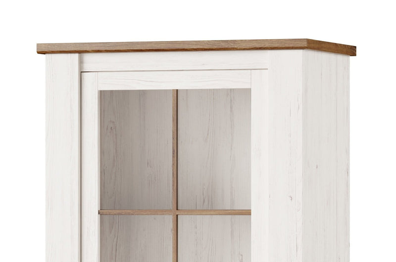 Country 10 Tall Display Cabinet in Oak Sterling and Andersen Pine