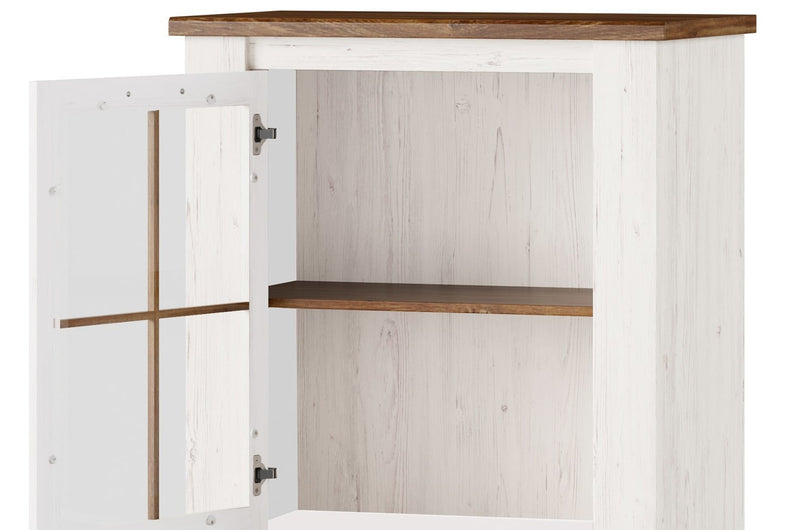 Country 14 Small Display Cabinet in Oak Sterling and Andersen Pine