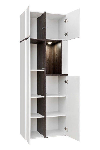 Cross Tall Display Cabinet in White Gloss and Elm