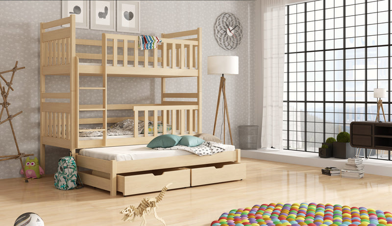 Wooden Bunk Bed Klara with Trundle and Storage