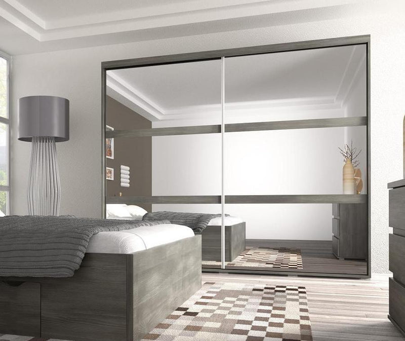 Latte 2 Sliding Mirror Door Wardrobe 230cm