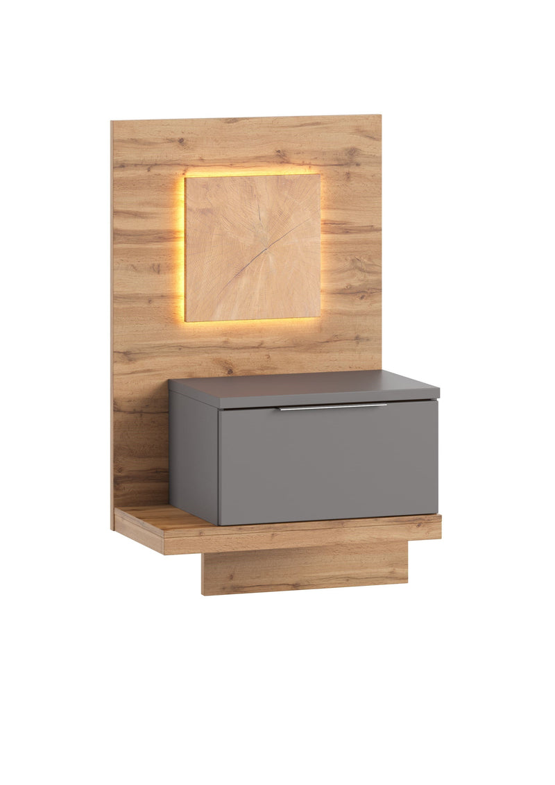 Livorno 68 Bedside Table in Wotan Oak and Grey - Left