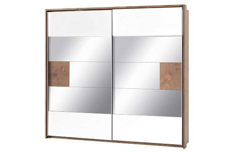Livorno 73 Mirrored Sliding Door Wardrobe 215cm in Wotan Oak and White
