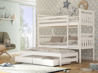 Wooden Bunk Bed Seweryn with Trundle and Storage