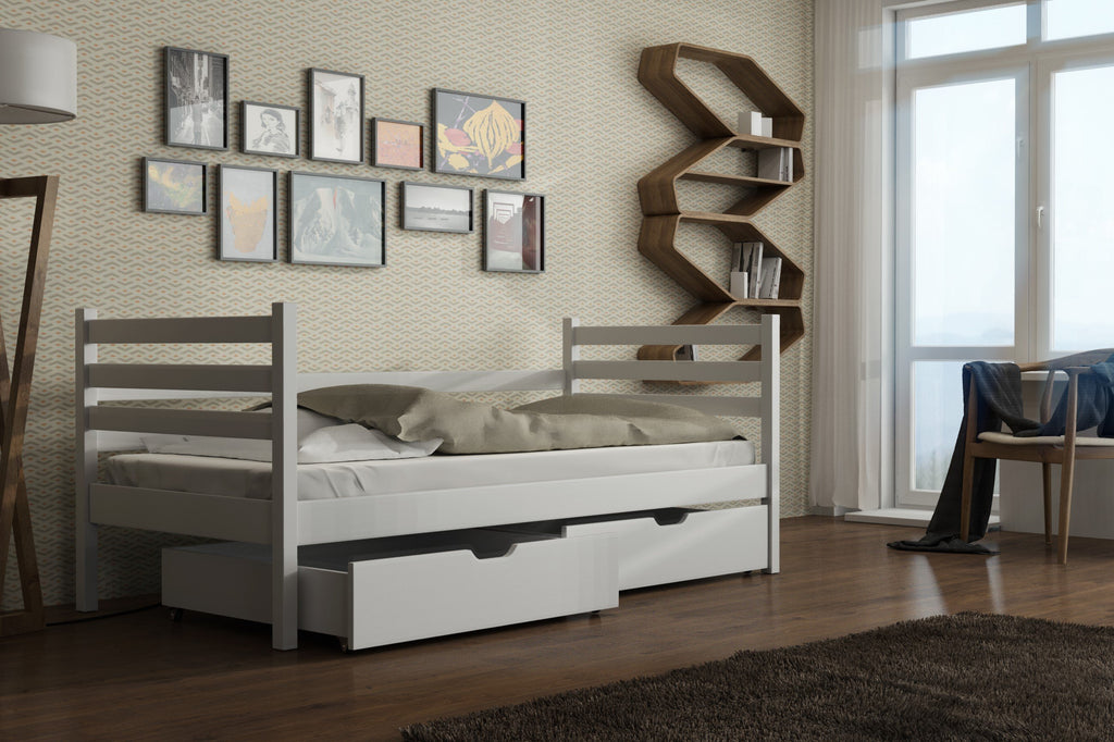 Wooden Single Bed Melanie with Storage