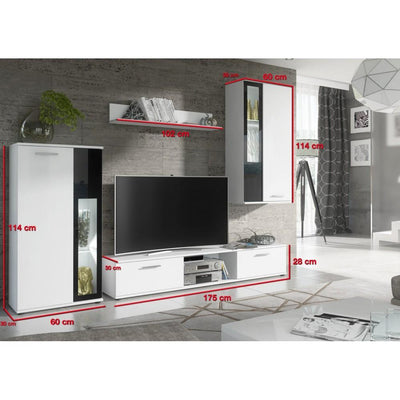 Wow Entertainment Unit in White/Black