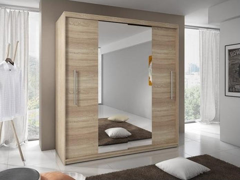 Torino Sliding Mirror Door Wardrobe 204cm in Sonoma Oak