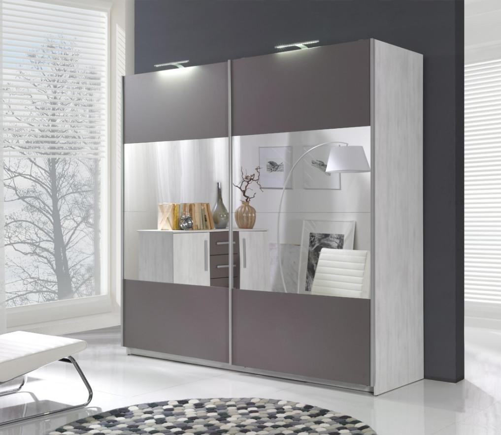 Dione D01 2 Sliding Door Mirror Wardrobe 225cm In Norwegian Pine/Grey