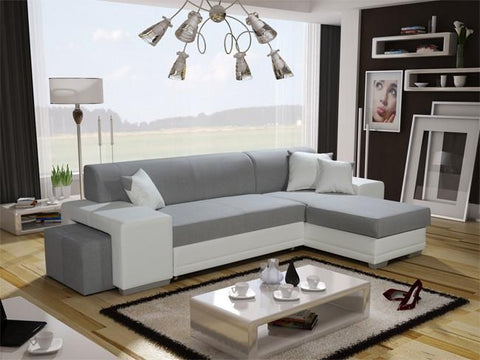 Vera Twin Corner Sofa Bed with Pouf