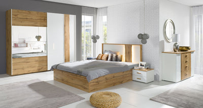 Wood 31/32 Bed in White Gloss/Wotan Oak in 2 sizes