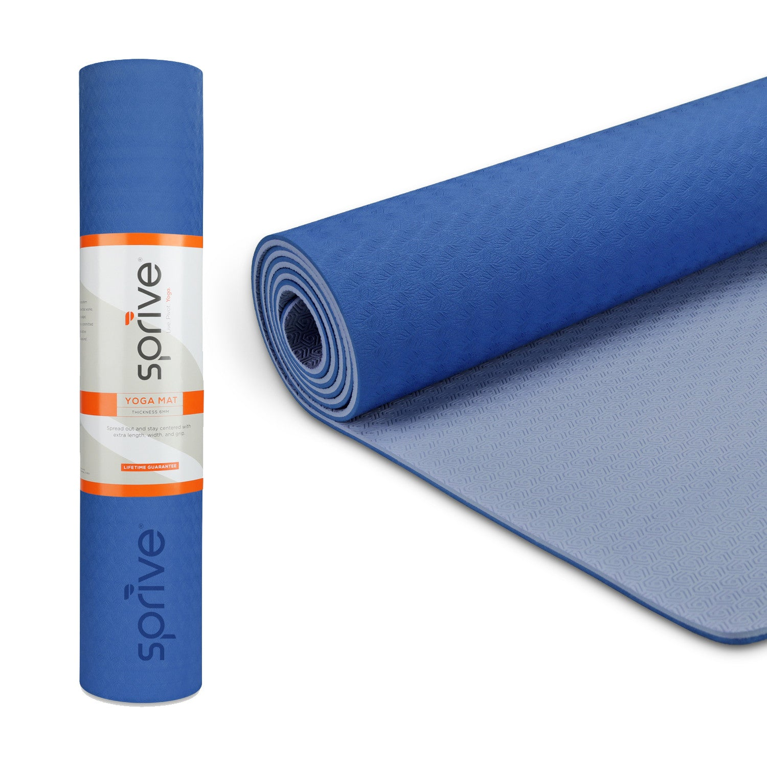"Splay Dual Color TPE Yoga Mat (6mm, 72""x 28"", Blue/Light Blue)"