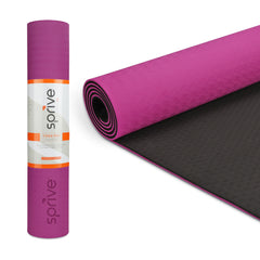 "FINAL SALE -  Splay Dual Color TPE Yoga Mat (6mm, 72""x 28"", Cosmo Pink/Black)"