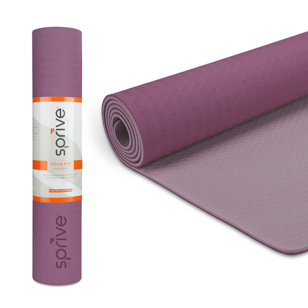 "Splay Dual Color TPE Yoga Mat (6mm, 72""x 28"", Purple/Light Pink)"