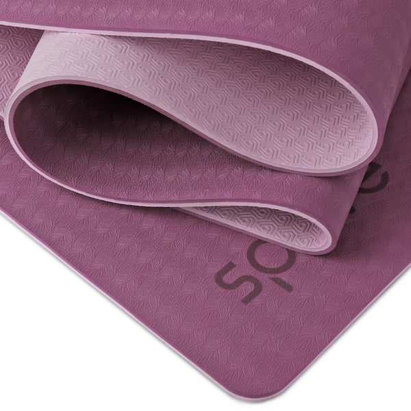 "FINAL SALE - Splay Dual Color TPE Yoga Mat (6mm, 72""x 28"", Purple/Light Pink)"