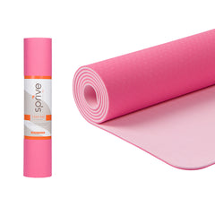 "Standard Dual Color TPE Yoga Mat (6mm, 72"" x 24"", Ice Cream Pink/Rose)"