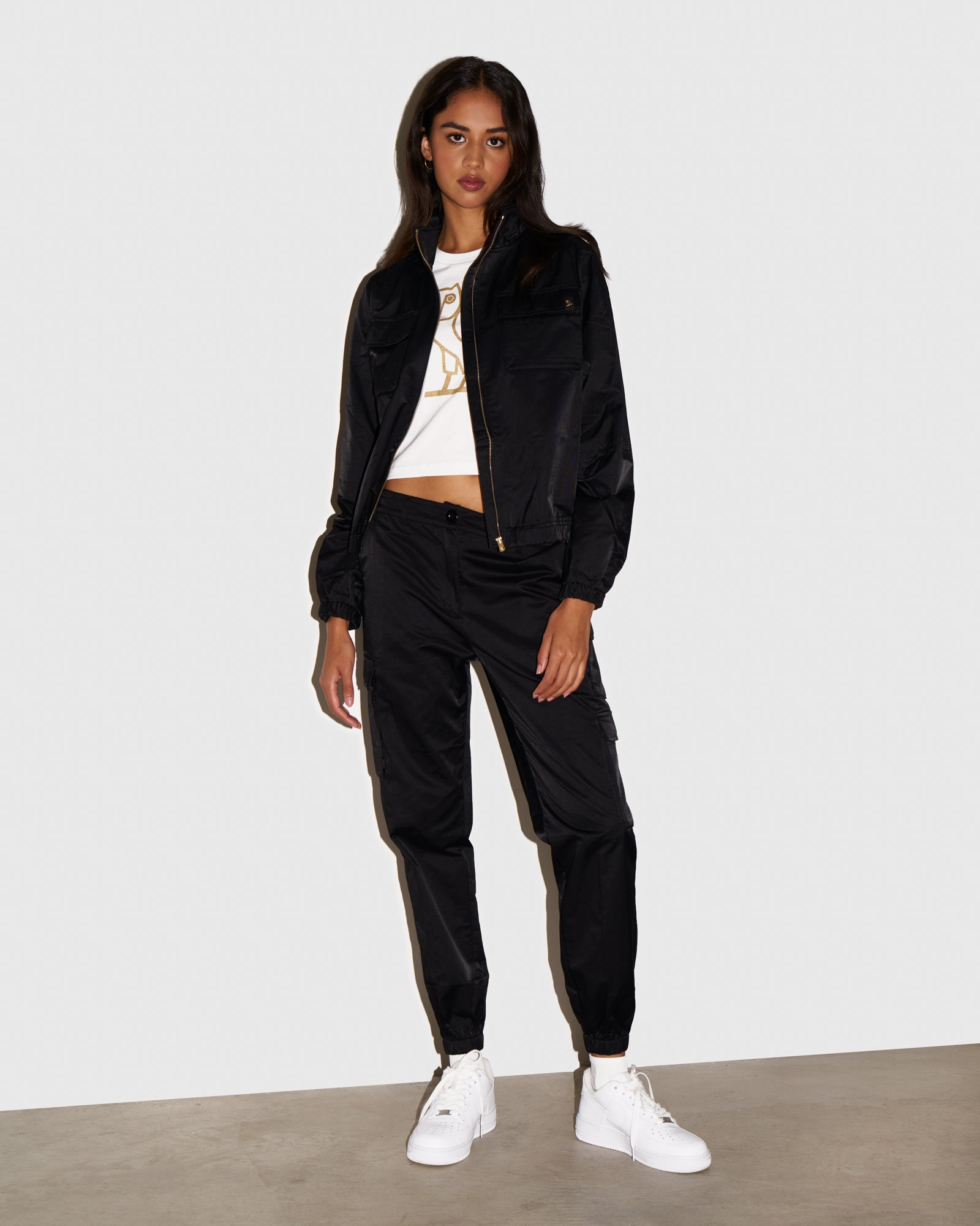 WOMEN'S OVO NYLON CARGO PANT - BLACK