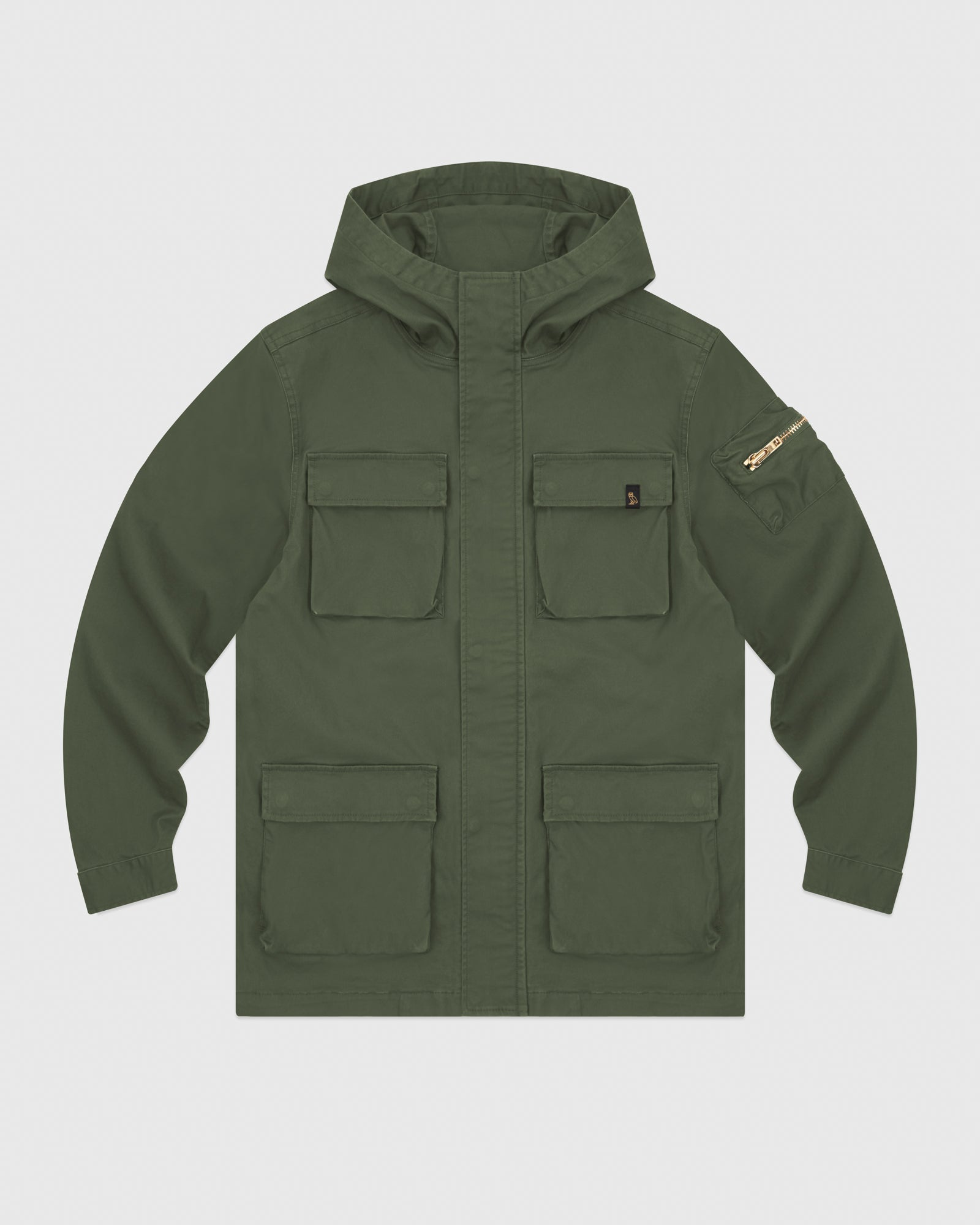 HOODED CARGO JACKET - MILITARY GREEN IMAGE #1