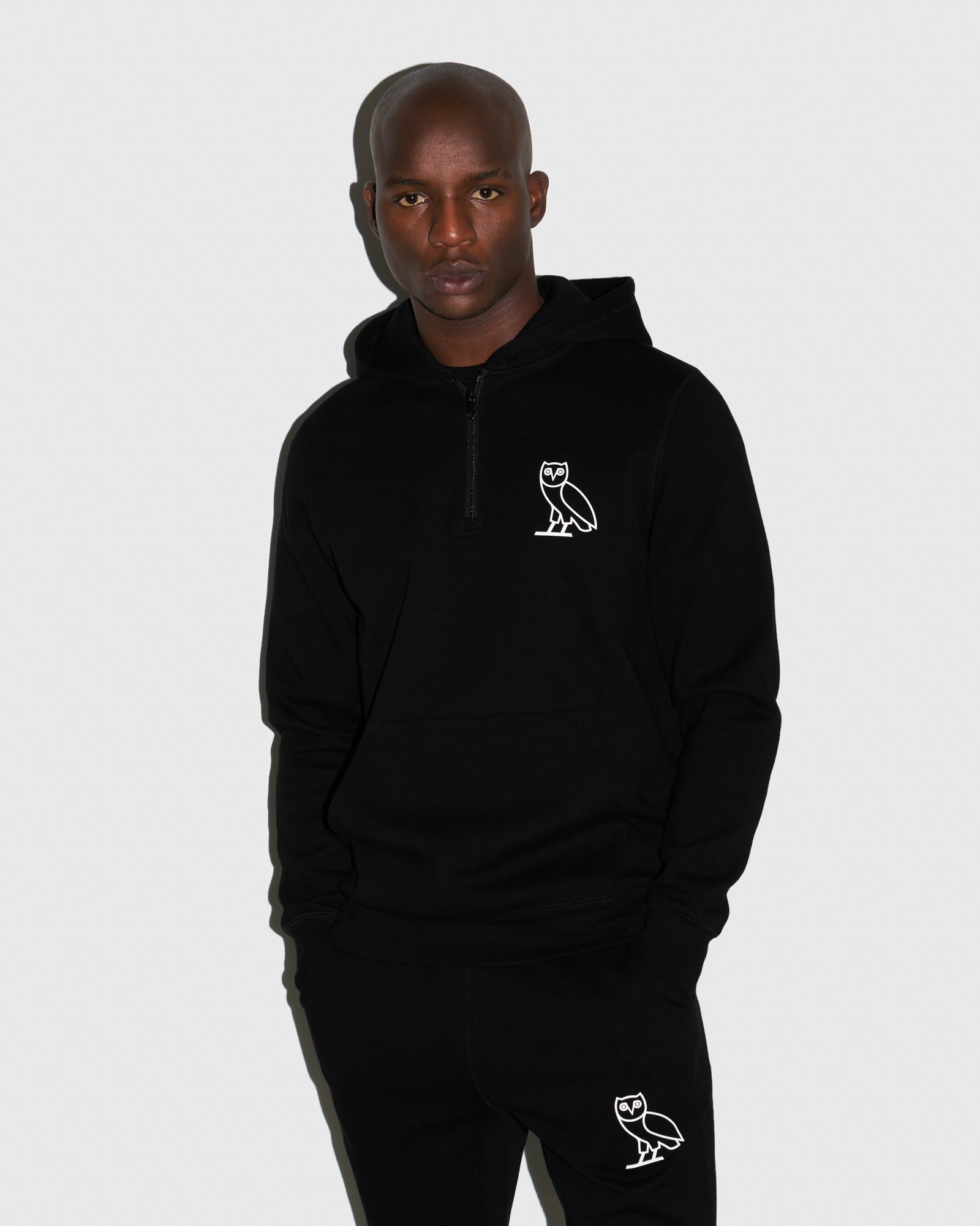 DOUBLE KNIT QUARTER-ZIP HOODIE - BLACK IMAGE #2
