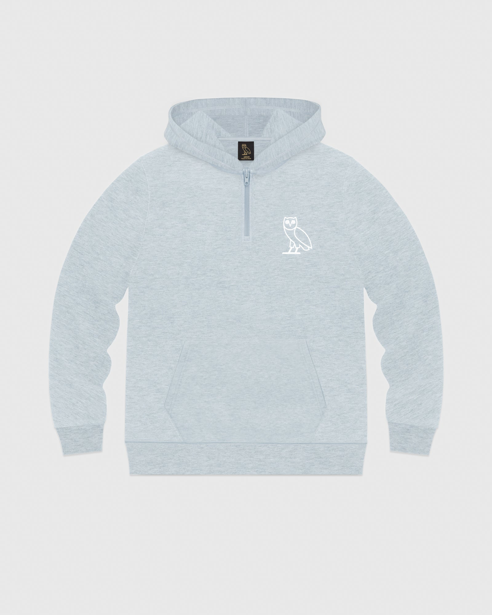DOUBLE KNIT QUARTER-ZIP HOODIE - HEATHER BLUE IMAGE #1