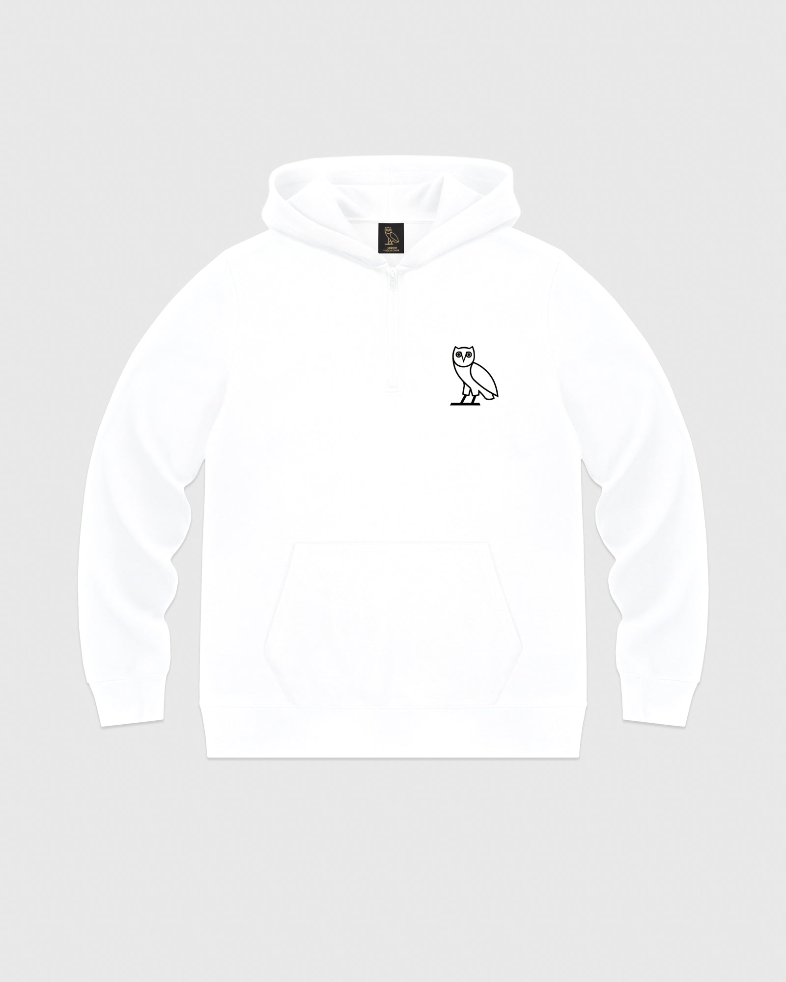 DOUBLE KNIT QUARTER-ZIP HOODIE - WHITE IMAGE #1