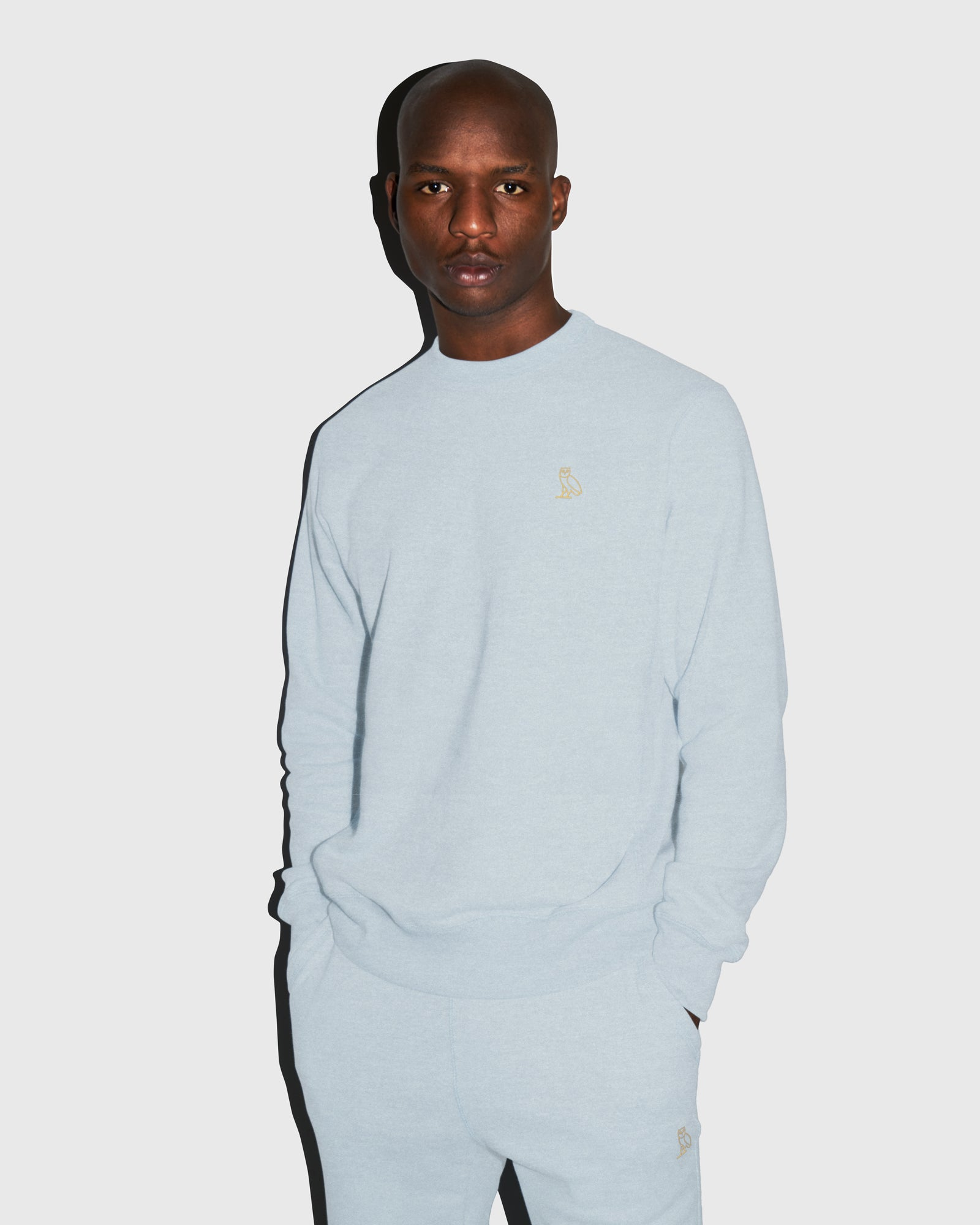 OVO FRENCH TERRY CREW - HEATHER LIGHT BLUE