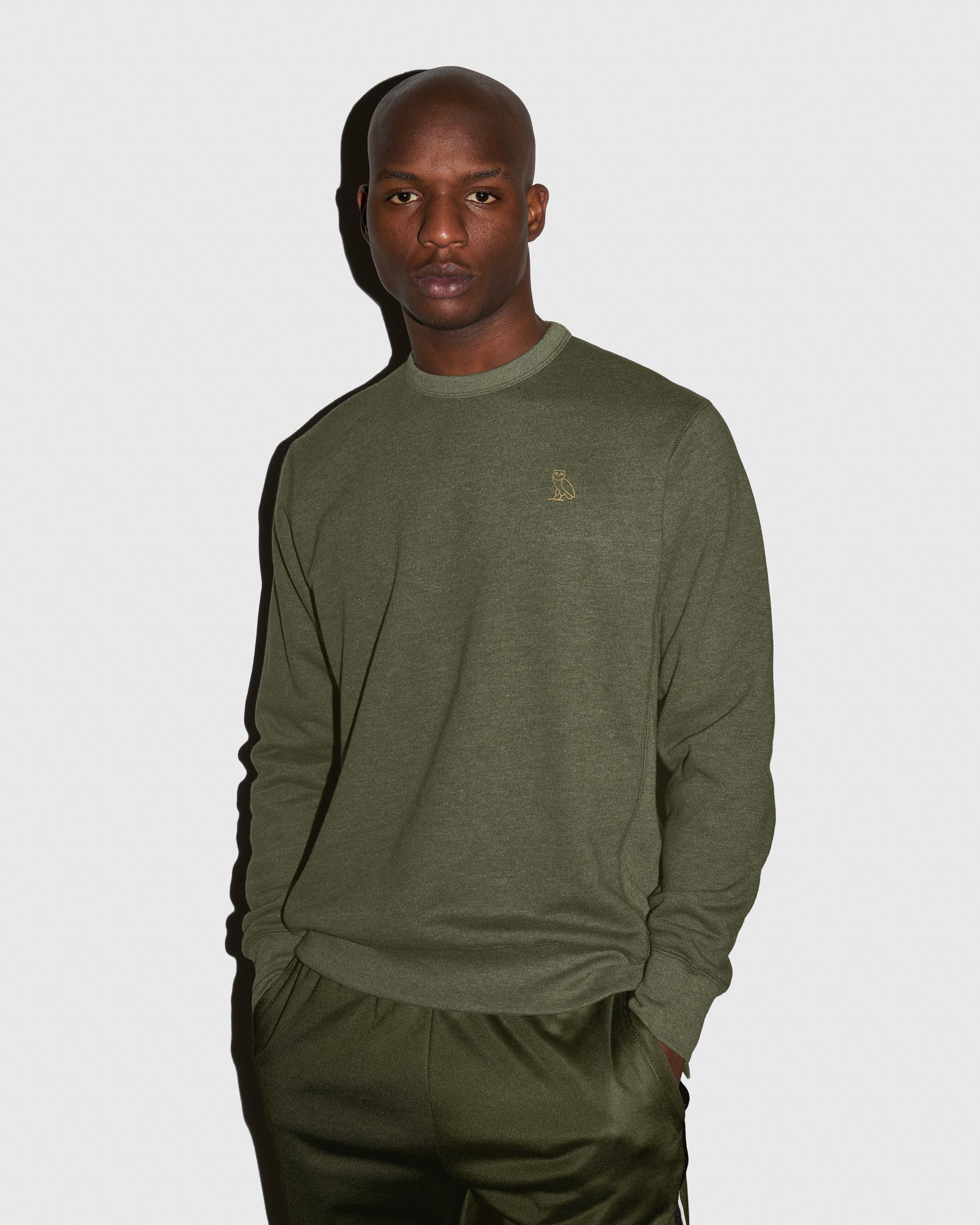 OVO FRENCH TERRY CREW - HEATHER MILITARY GREEN IMAGE #2