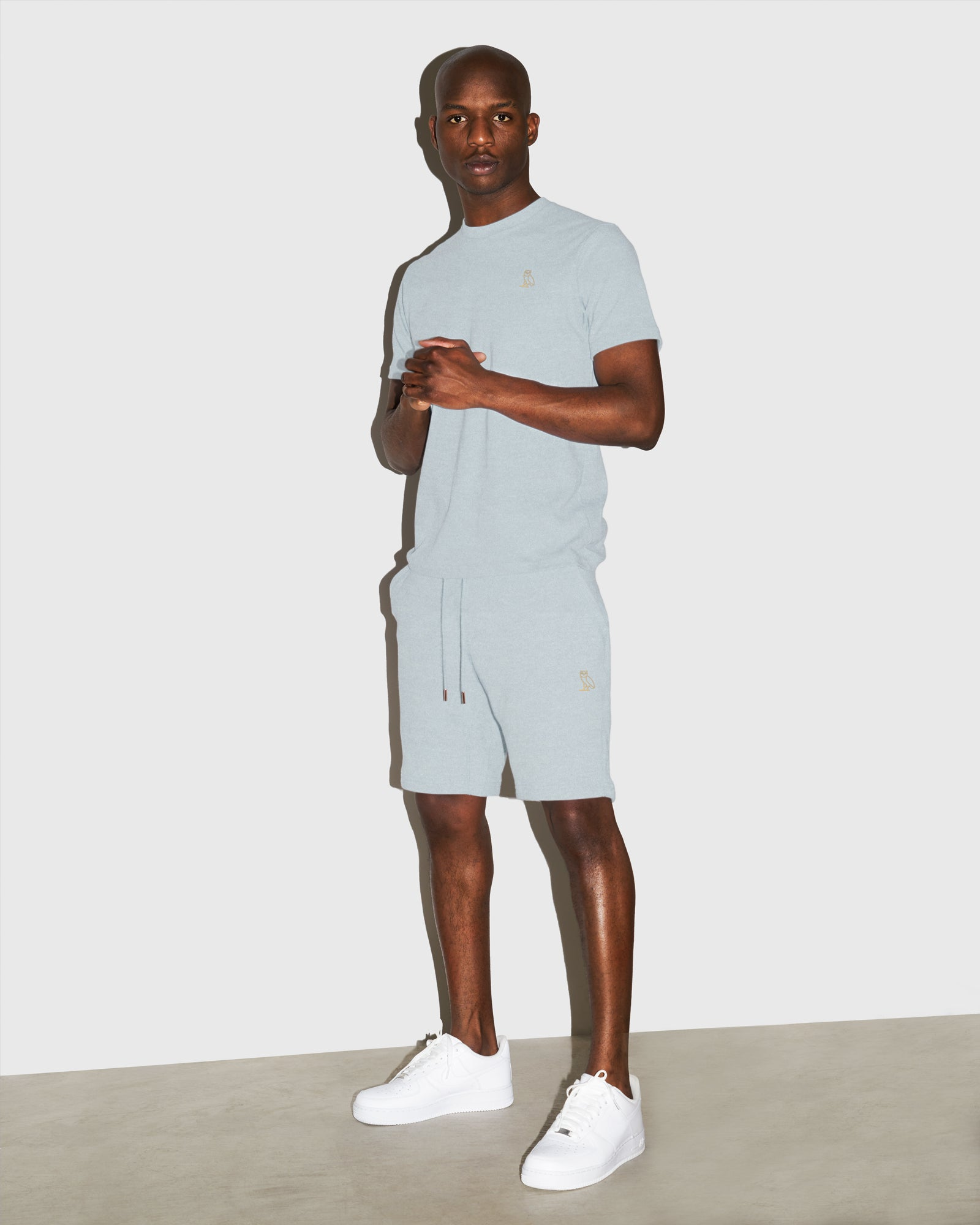 OVO FRENCH TERRY SHORT - HEATHER LIGHT BLUE IMAGE #2