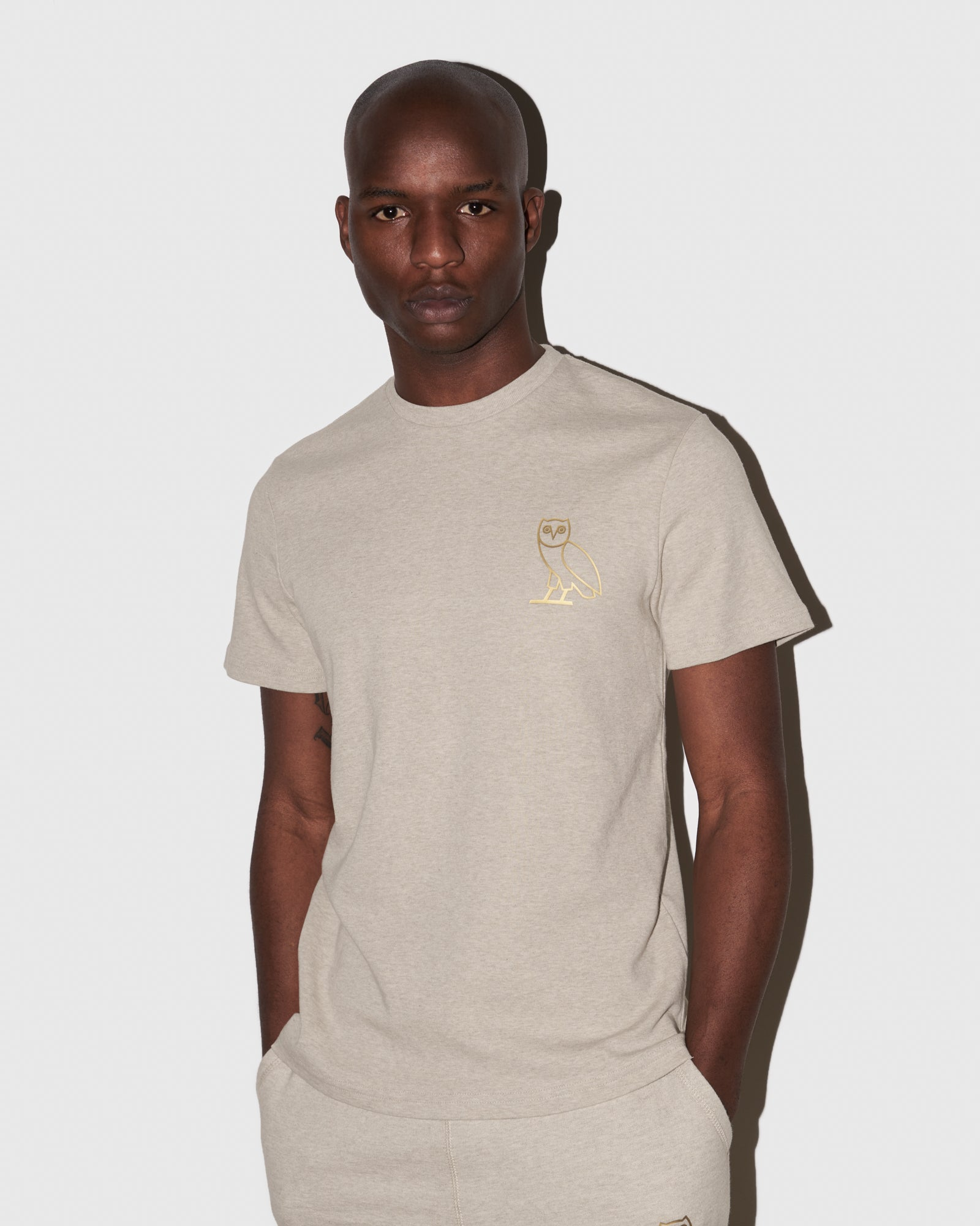 OVO OATMEAL INTERLOCK T-SHIRT - HEATHER OATMEAL IMAGE #2