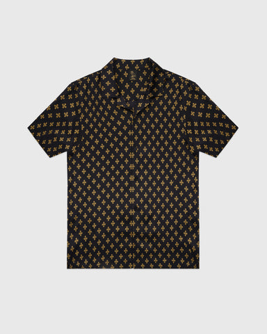 OVO MONOGRAM SILK SHIRT - BLACK