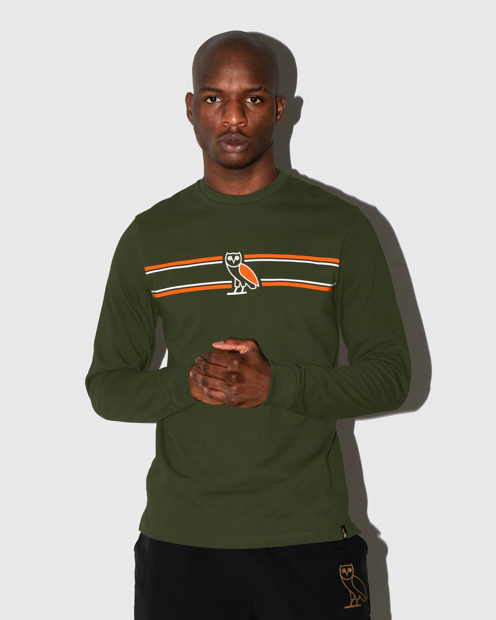 OVO CHEST STRIPE LONGSLEEVE - MILITARY GREEN IMAGE #2