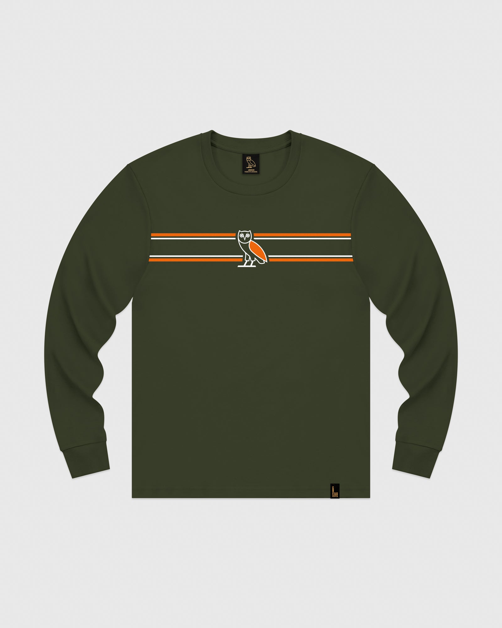 OVO CHEST STRIPE LONGSLEEVE - MILITARY GREEN IMAGE #1