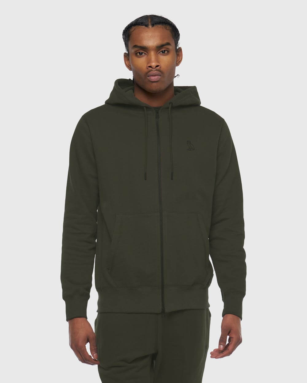 MID-WEIGHT FRENCH TERRY ZIP HOODIE - STONE GREEN