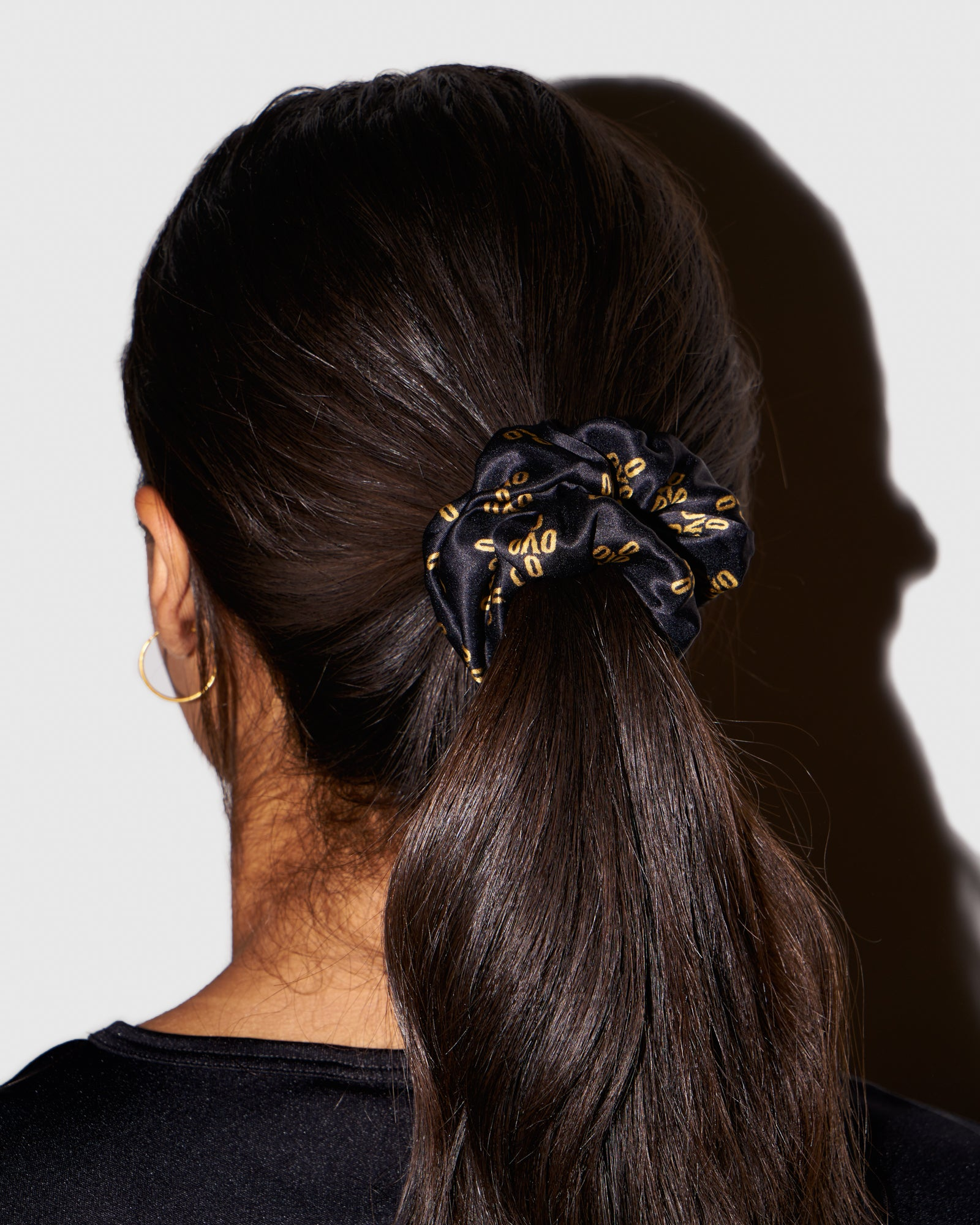 WOMEN'S OVO MONOGRAM SILK SCRUNCHIE - BLACK