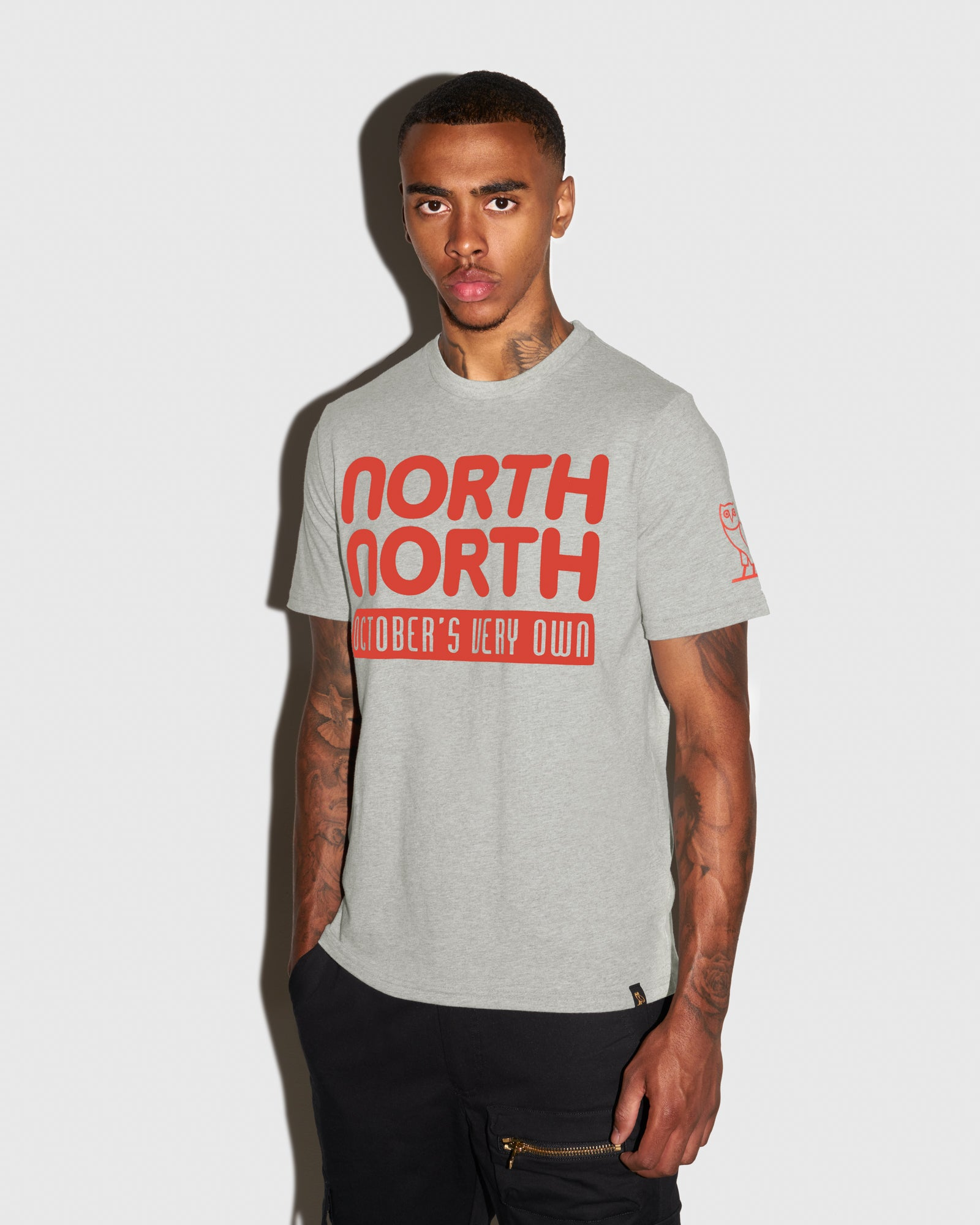 OVO NORTH NORTH T-SHIRT - HEATHER GREY IMAGE #2