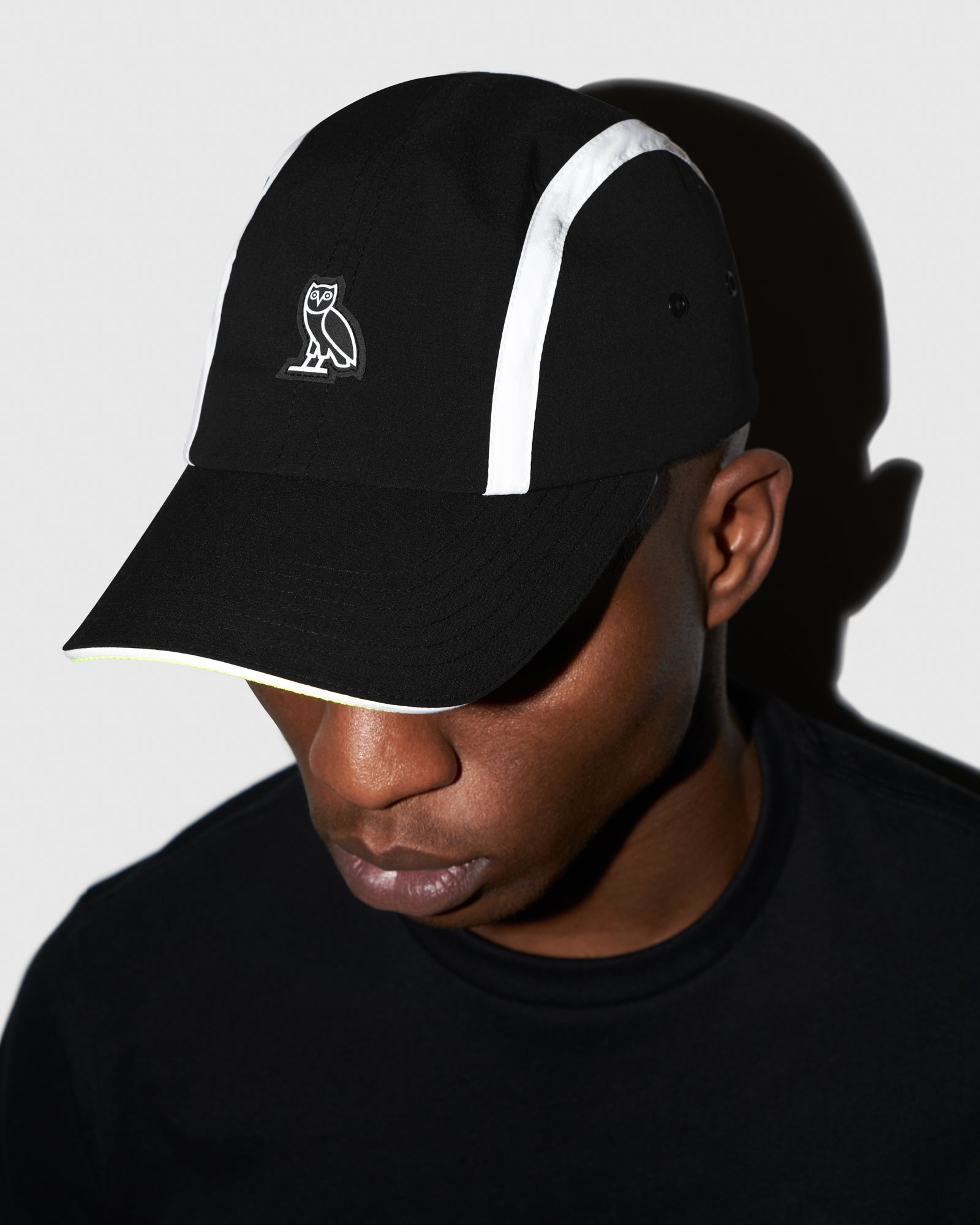 OVO MICRO RIPSTOP NYLON 4 PANEL CAP - BLACK
