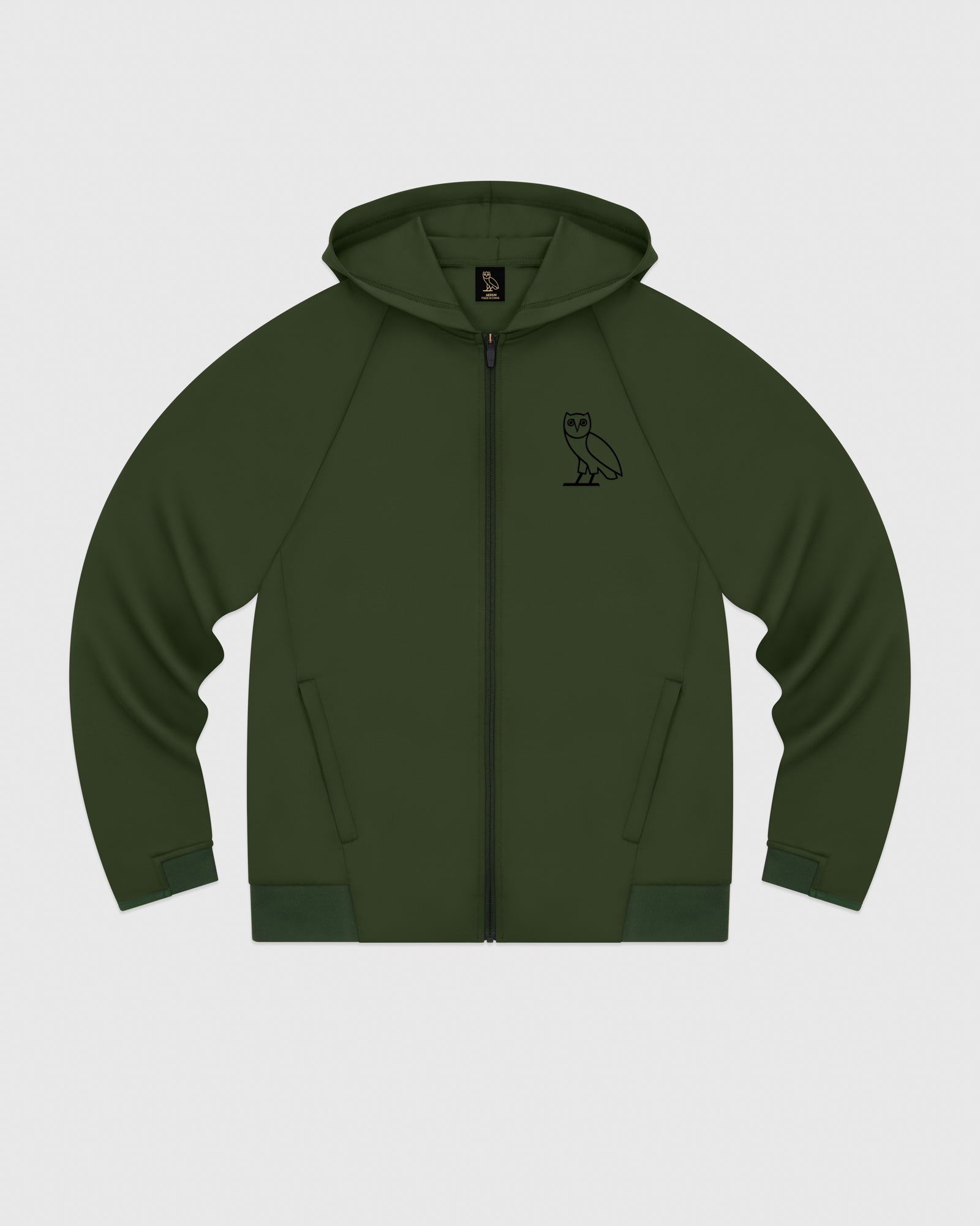 OVO DOUBLE KNIT ZIP HOODIE - MILITARY GREEN IMAGE #1