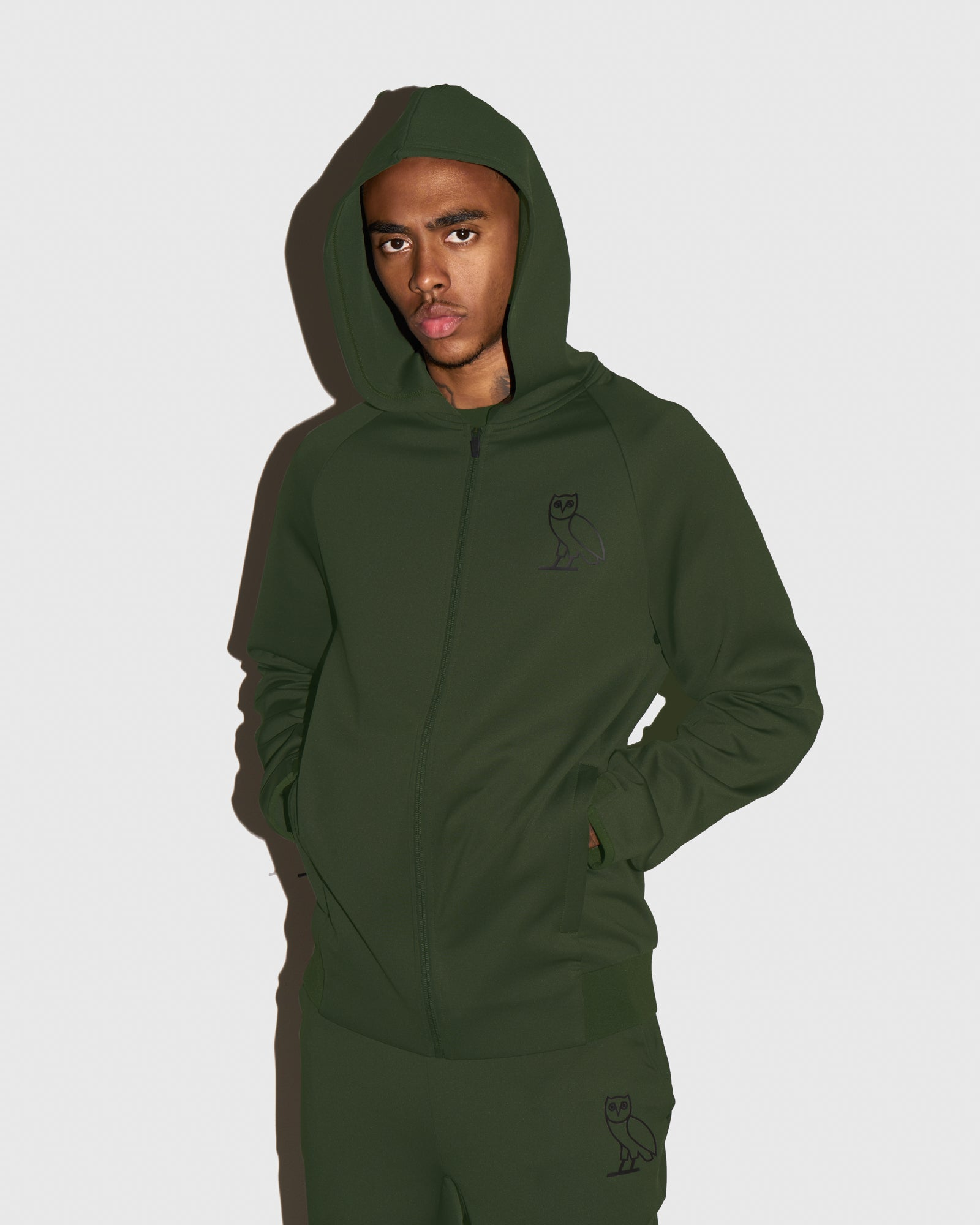 OVO DOUBLE KNIT ZIP HOODIE - MILITARY GREEN IMAGE #2