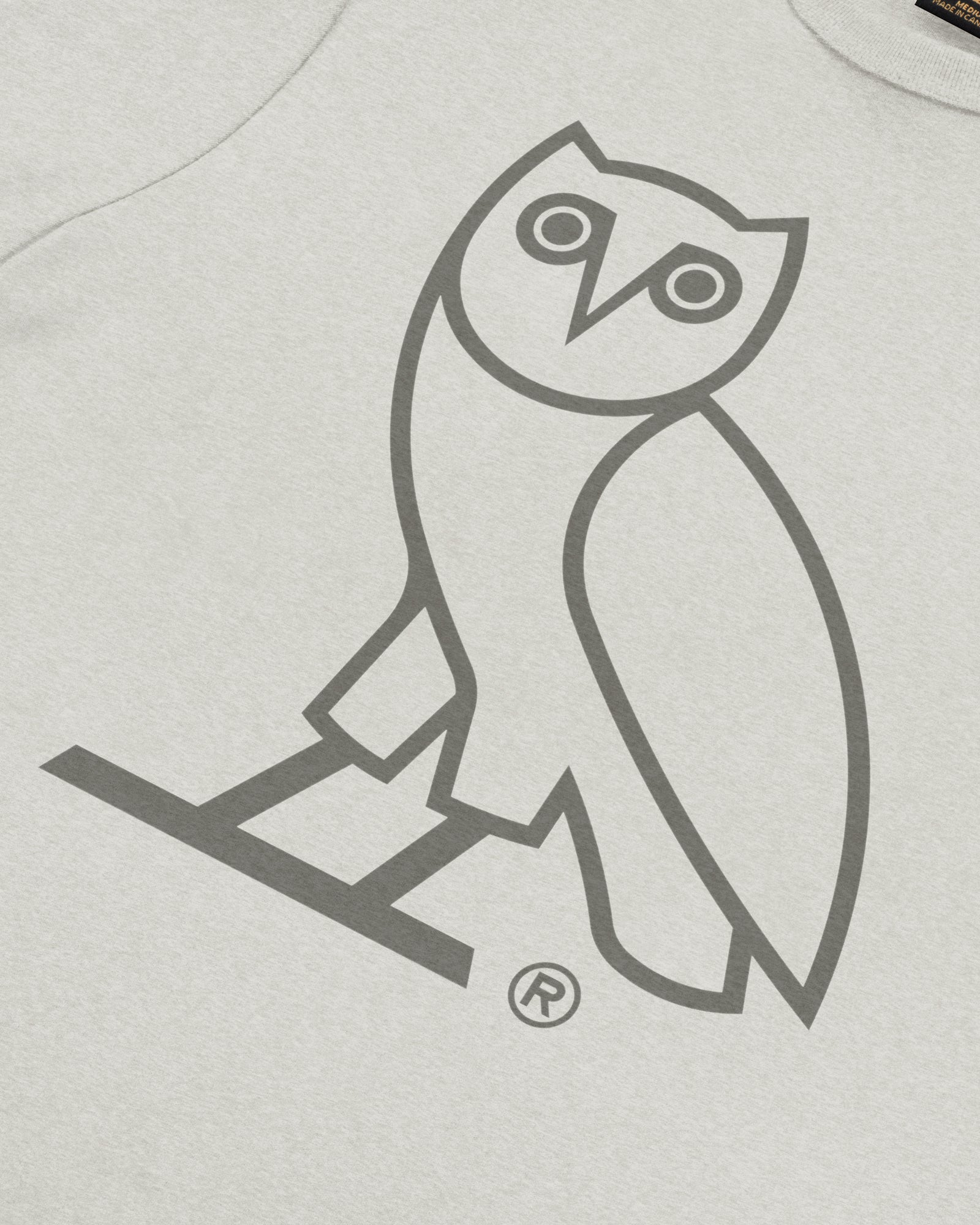 DISCHARGE OWL T-SHIRT - HEATHER LIGHT GREY IMAGE #3